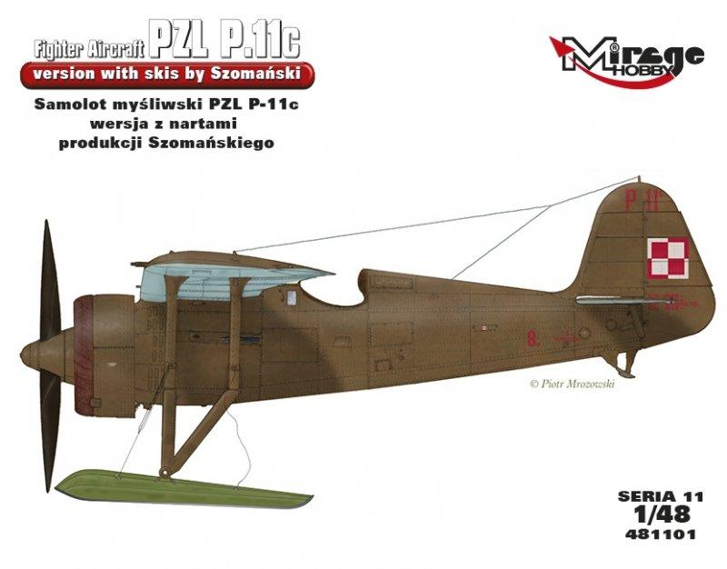 Mirage 481101 1:48 Samolot myśliwski PZL P-11c wersja z nartami produkcji Szomańskiego