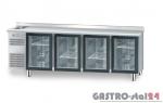 Stół chłodniczy z drzwiami przeszklonymi z zlewozmywakiem z płytą wierzchnia nierdzewną DM 91008 2325x600x850