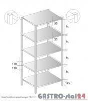 Regał z półkami przestawnymi DM 3321 szerokość: 400 mm, wysokość: 1800 mm (600x400x1800)