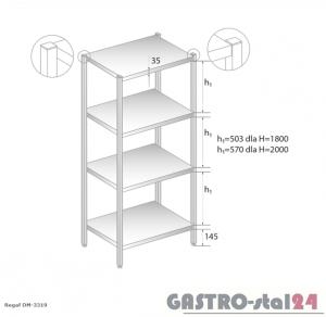 Regał magazynowy z półkami pełnymi DM 3319 szerokość: 400 mm, wysokość: 2000 mm  (600x400x2000)