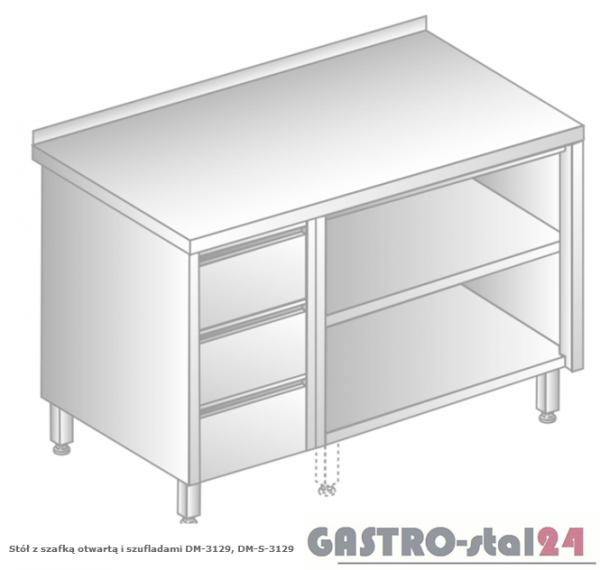 Stół z szafką otwartą i szufladami DM 3129 szerokość: 600 mm (800x600x850)