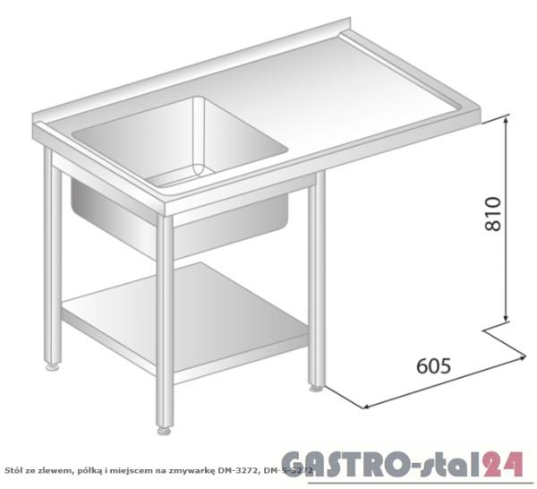 Stół ze zlewem, półką i miejscem na zmywarkę DM 3272 szerokość: 600 mm (1200x600x850)