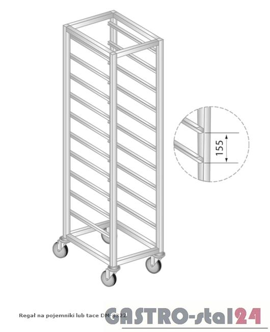 Regał na pojemniki lub tace na stópkach DM 3322/S   szerokość: 550 mm, wysokość: 1600 mm  (400x550x1600)