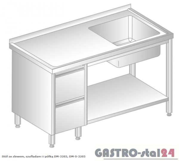 Stół ze zlewem, szufladami i półką DM 3203 szerokość: 600 mm  (1000x600x850)