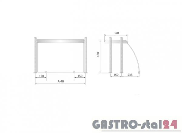 Nadstawka z grzaniem i oświetleniem DM 94580 G 1543x480x480