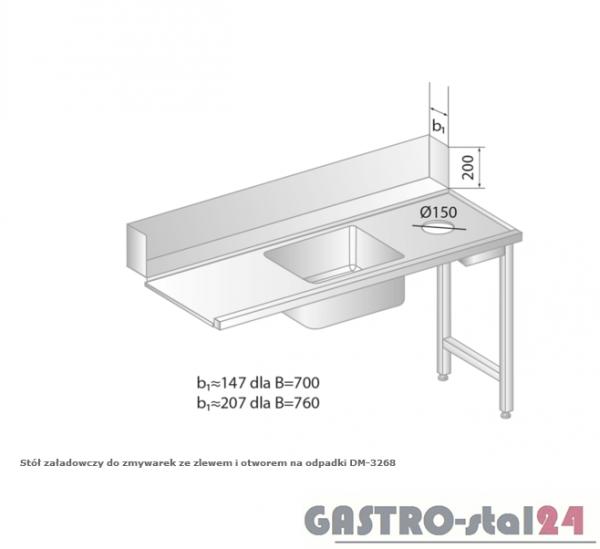 Stół załadowczy do zmywarek ze zlewem i otworem na odpadki DM 3268 szerokość: 760 mm (1200x760x850)