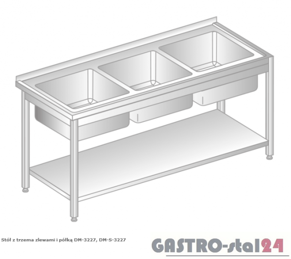 Stół z trzema zlewami i półką DM 3227 szerokość: 600 mm (1600x600x850)