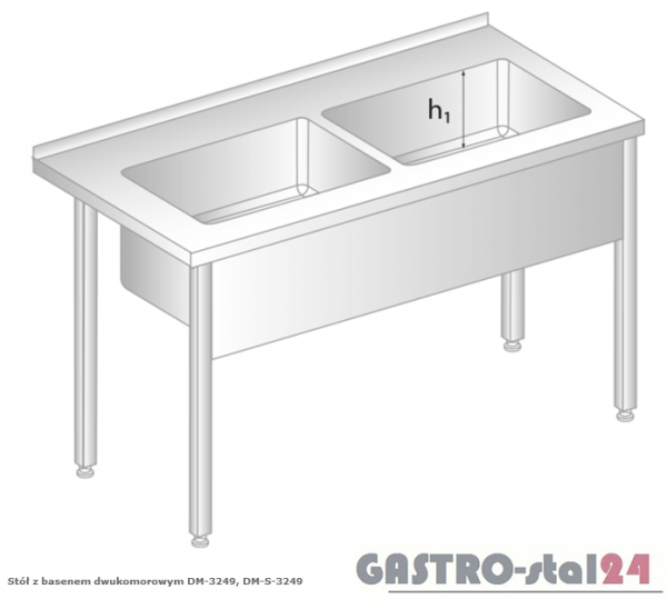 Stół z basenem dwukomorowym DM 3249 szerokość: 700 mm, głębokość: 350 mm (1700x700x850)