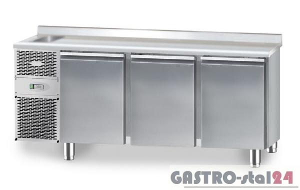 Stół chłodniczy ze zlewozmywakiem z płytą wierzchnią nierdzewną DM 91003 1825x600x850