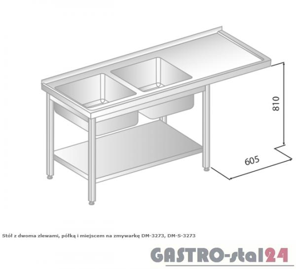 Stół z dwoma zlewami, półką i miejscem na zmywarkę DM 3273 szerokość: 700 mm (1800x700x850)