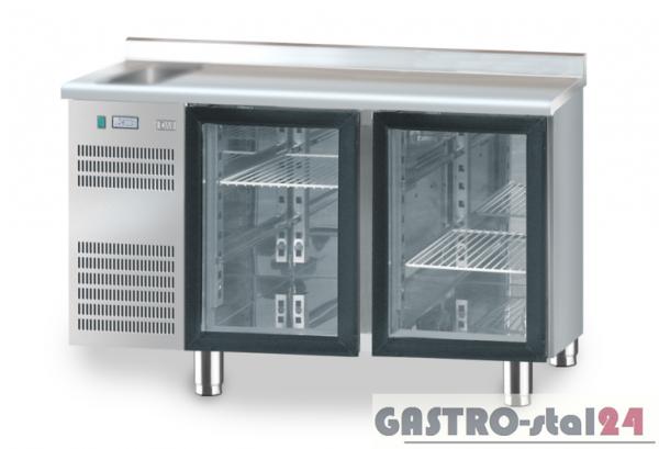 Stół chłodniczy z drzwiami przeszklonymi z zlewozmywakiem z płytą wierzchnią nierdzewną DM 91005 1325x700x850