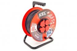 Przedłużacz bębnowy warsztatowy KEL PB-PRO/D/40M/3X2.5/H05RR-F/CZARNY 40m W-97923