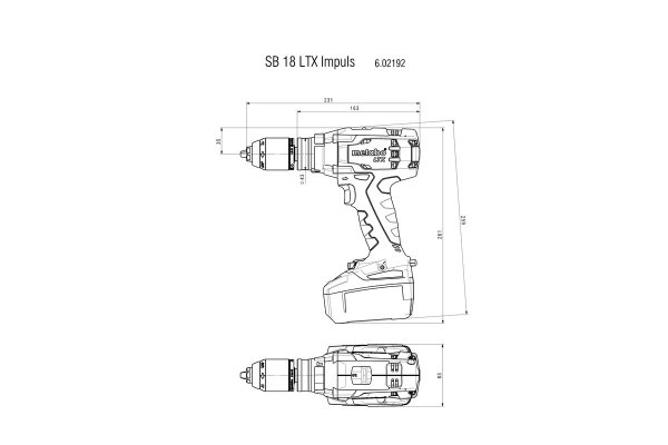 Akumulatorowa wiertarko-wkrętarka z udarem Metabo SB 18 LTX Impuls, 18 V 4.0Ah 602192500