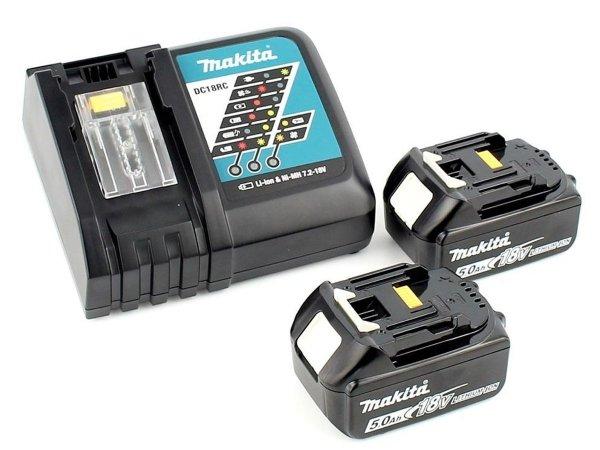 Zestaw zasilający Makita 2x Akumulator 5.0Ah, ładowarka DC18RC, Makpac   197624-2