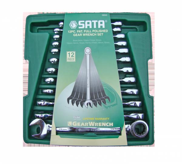 Zestaw 12 kluczy płasko-oczkowych z grzechotką SATA 09040