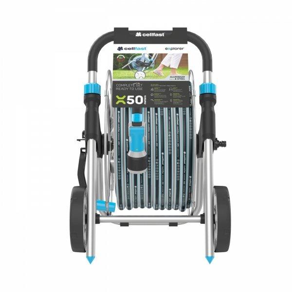 Wózek metalowy Cellfast EXPLORER + wąż + zraszacz 55-060