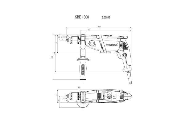 Metabo Dwubiegowa wiertarka udarowa SBE 1300 z elektroniką Futuro Plus, 1300 W