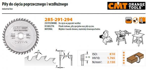 Piła tarczowa CMT 294.054.22M  HM D=305 F=30 Z=54N K=2,8/1,8 {|-5 neg.
