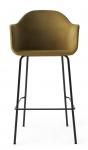 Menu HARBOUR Krzesło Barowe 112 cm Hoker Czarny - Siedzisko Tapicerowane Miodowe