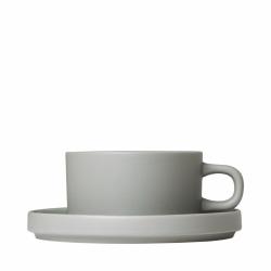 Blomus MIO Filiżanka ze Spodkiem do Herbaty 170 ml 2 Szt. Szara Mirage Grey