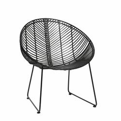 Hübsch ROUND Krzesło Ratanowe - Czarne