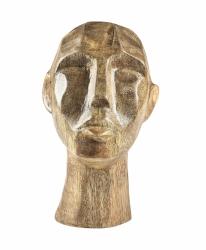 Villa Collection HOME Figura - Rzeźba Dekoracyjna 15 cm Głowa z Drewna Mango