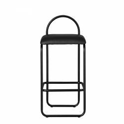 Aytm ANGUI Hoker - Krzesło Barowe 82,5 cm Czarne / Siedzisko Czarna Skóra