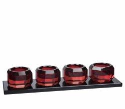 Lyngby Glass KRYSTAL Kryształowy Świecznik Tealight - Czerwony / Czarna Podstawa