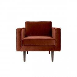 Broste Copenhagen WIND Fotel - Tkanina Aksamit Odcień Rdzawy