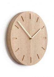 Applicata WATCH:OUT Zegar Ścienny - Dąb Naturalny/ Wskazówki Mosiężne