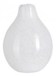 A Simple Mess KORV Szklany Wazon do Kwiatów 10 cm Biały Zdobiony