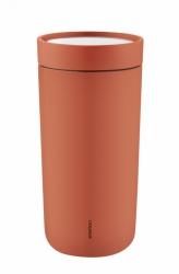 Stelton TO GO CLICK Stalowy Kubek Termiczny 400 ml Pomarańczowy Soft Roseship