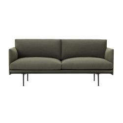 Muuto OUTLINE Sofa 2-Osobowa - Ciemnozielona - Tkanina Fiord 961 / Czarne Nogi