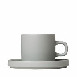 Blomus MIO Filiżanka ze Spodkiem do Kawy 200 ml 2 Szt. Szara Mirage Grey