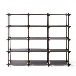 Menu STICK Regał Systemowy - Moduł 3x5 Czarny - Rama Ciemny Jesion