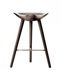 by Lassen ML42 Krzesło Barowe -- Hoker 69 cm Dąb Ciemnobrązowy / Poprzeczka Miedziana