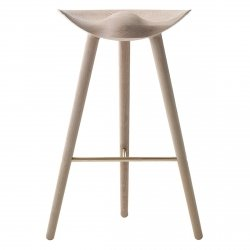 by Lassen ML42 Krzesło Barowe -- Hoker 77 cm Dębowy / Poprzeczka Złota