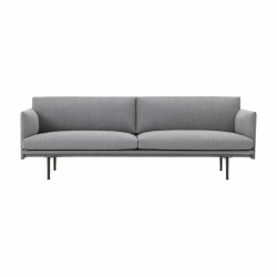 Muuto OUTLINE Sofa 3-Osobowa - Jasnoszara - Tkanina Fiord 151 / Czarne Nogi