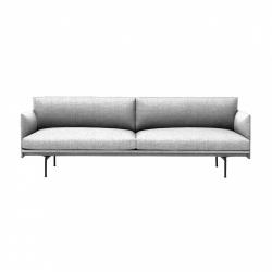 Muuto OUTLINE Sofa 3-Osobowa - Jasnoszara - Tkanina Vancouver 14 / Czarne Nogi