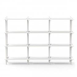 Menu STICK Regał Systemowy - Moduł 3x4 Biały - Rama Biały Jesion