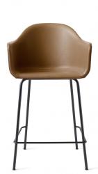 Menu HARBOUR Krzesło Barowe 102 cm Hoker Czarny - Siedzisko Skóra Naturalna Brązowa