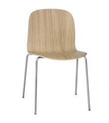 Muuto VISU TUBE BASE Krzesło Drewniane na Stalowej Ramie - Dębowe/Stalowe Nogi
