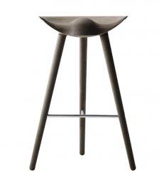 by Lassen ML42 Krzesło Barowe -- Hoker 77 cm Dąb Ciemnobrązowy / Poprzeczka Sebrna