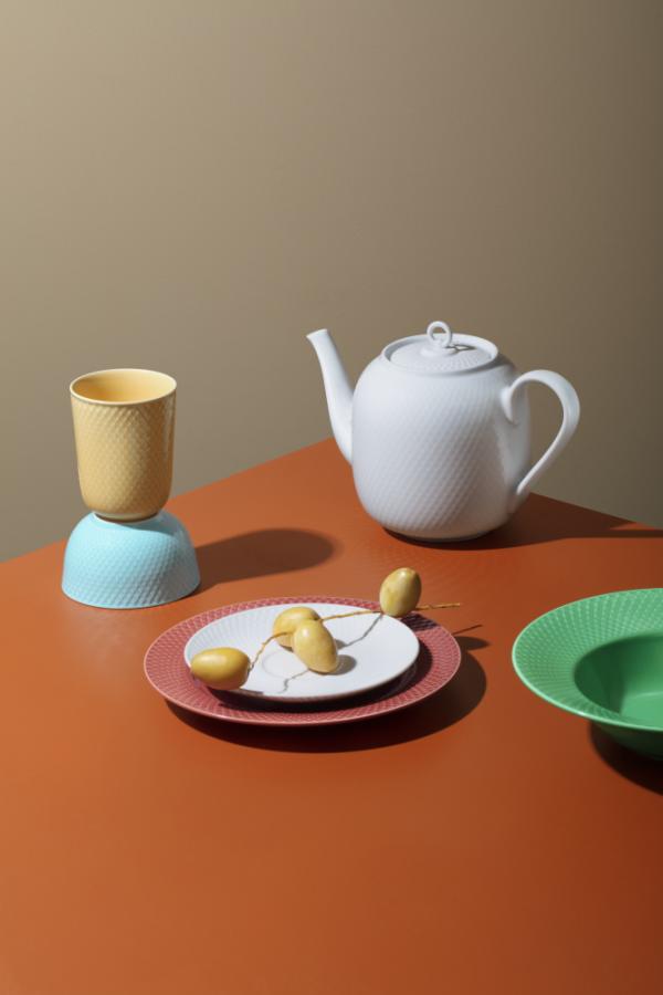 Lyngby Porcelain RHOMBE Dzbanek do Herbaty 1,9 l Biały