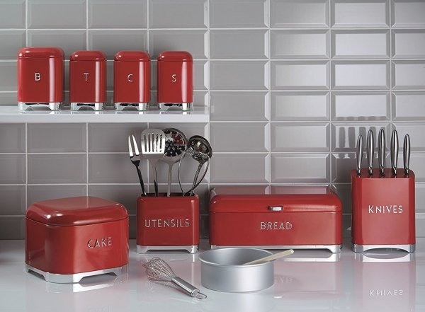 Kitchen Craft LOVELLO Chlebak - Pojemnik na Pieczywo - Czerwony