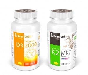--- ZESTAW 1+1 --- Witamina D3 2000IU + K2 MK7 (vitaMK7®) 100mcg - 2 x 120 kaps.