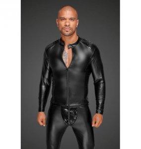 H052 Powerwetlook men's jacket with pleated PVC epaulets S