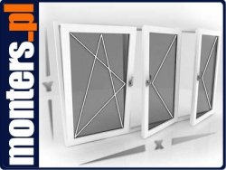 Okno PCV 2460x1135 EKOSUN R+UR+R symetryczne