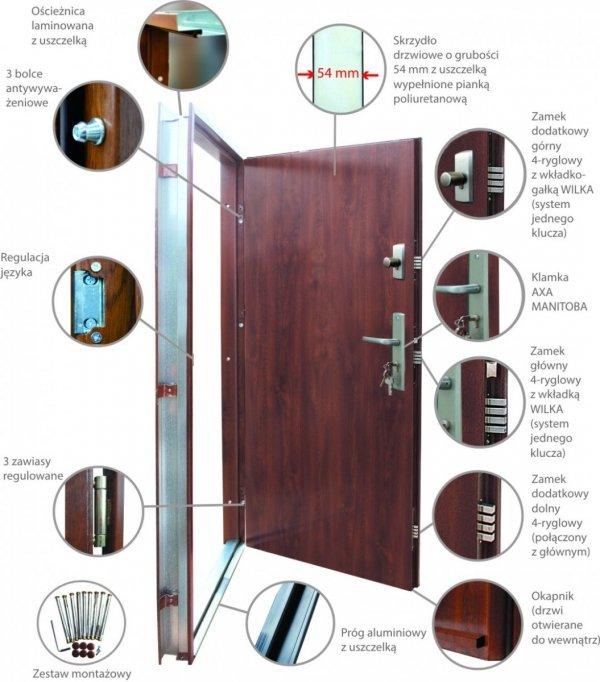 Drzwi wejściowe zewnętrzne Wikęd Premium wzór 2