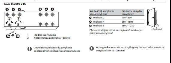 Samozamykacz Geze TS2000 VBC+Ramie brązowy